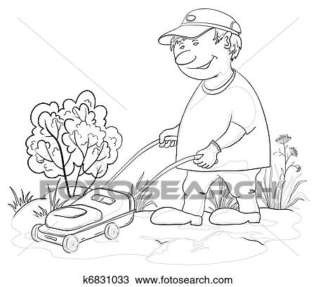 lawnmower drawing. drawing - lawn mower man, outline. fotosearch search clipart, illustration, fine lawnmower 0