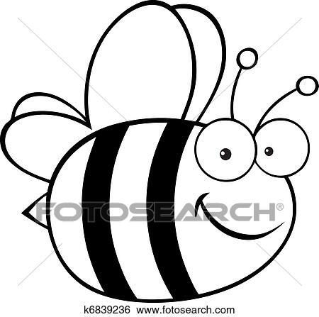 Clip Art Of Outlined Cute Cartoon Bee K6839236