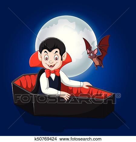 Vampiro di cartone animato divertente con costume a sfondo di