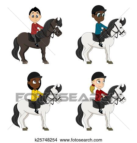 Dessins cheval cavaliers enfants dessin anim k25748254 recherche de clip arts d - Dessin anime indien cheval ...