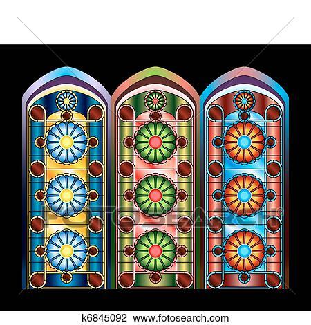 Fen tres vitraux clipart k6845092 - Dessin vitraux ...