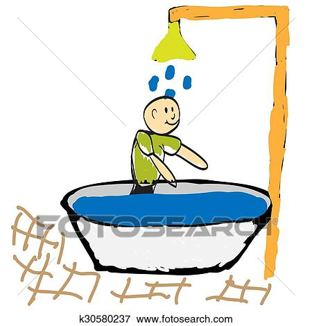 clip art of man taking a shower in the morning illustration rh fotosearch com clipart morning routine morning clipart pictures