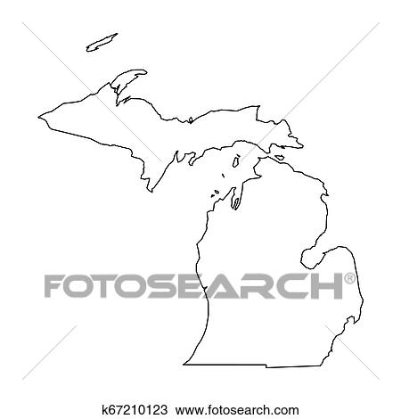 Michigan State Of Usa Solid Black Outline Map Of Country