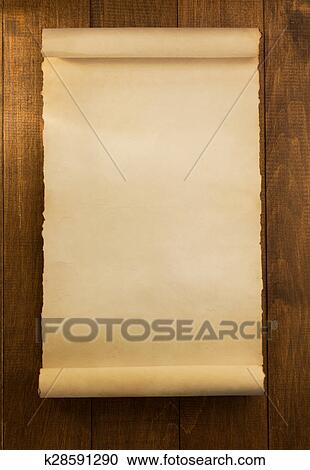stock photography of parchment scroll on wood k28591290 search