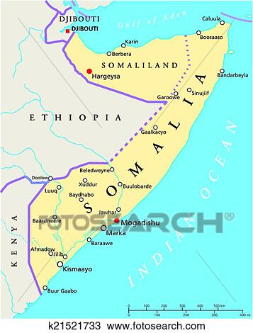 Clipart Of Somalia Political Map K21521733 Search Clip Art