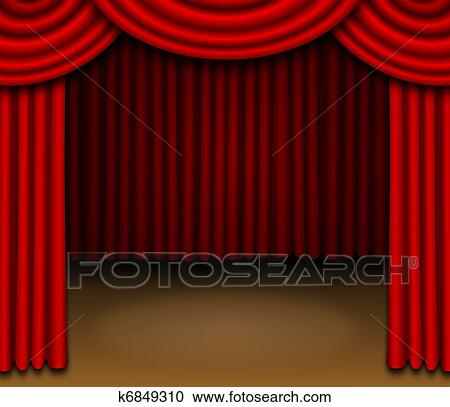 Stock Illustrations Of Stage With Red Draped Curtains K6849310