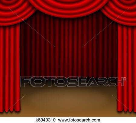 Stock Illustraties - toneel, met, rood, gedrapeerd, gordijnen ...