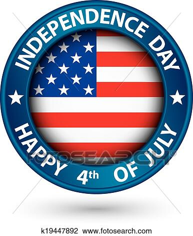 USA Independence Day happy the 4th of july blue label ...