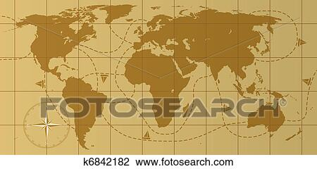 Clipart Of Vector Retro World Map With Compass Rose K6842182