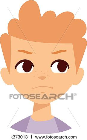 Clipart of Angry boy vector illustration. k37301311 ...