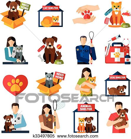 clipart of animal shelter icons set k33497805 search clip art rh fotosearch com animal shelter clipart free Cartoon Animal Shelter