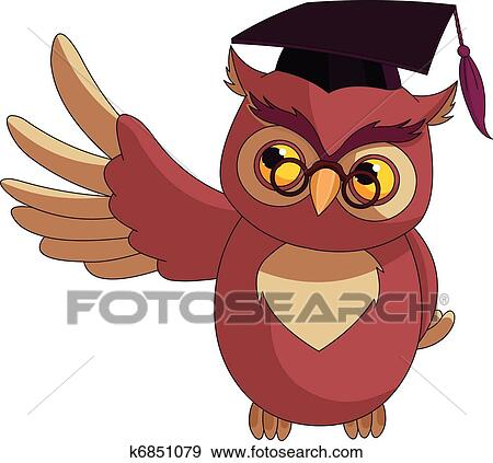 Clip Art Of Cartoon Wise Owl With Graduation C K6851079
