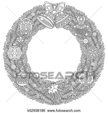 Clip Art - corona de navidad, con, ornamentos k52938186 - Buscar ...