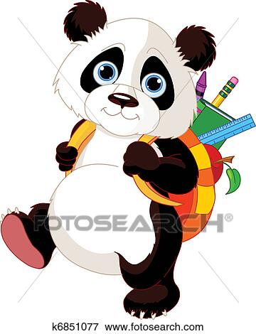 clip art of cute panda go to school k6851077 search clipart rh fotosearch com cute red panda clipart cute panda bear clipart