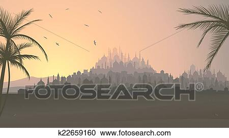Horizontal, Vecteur, Illustration, De, Ancien, Oriental Moyen, Ville, à,  Mosquées, à, Sunset.