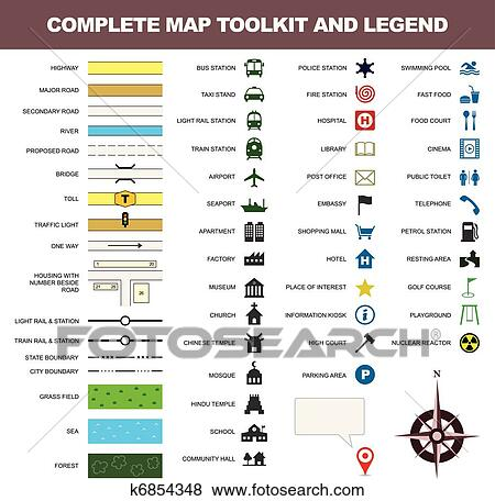 Clip Art Of Map Icon Legend Symbol Sign Toolkit K6854348 Search