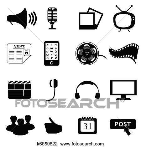 clipart of media or multimedia icons k6859822 search clip art rh fotosearch com median clip art media clip art images