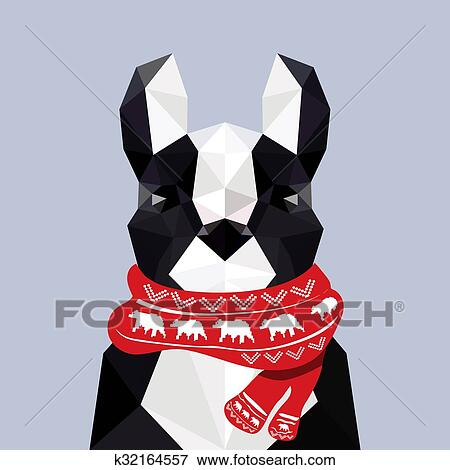Christmas Scarf.Modern Flat Design With Origami French Bulldog Wearing Christmas Scarf Clip Art