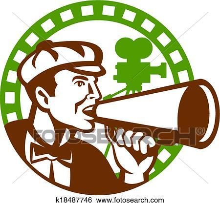 clip art of movie director bullhorn vintage movie camera retro rh fotosearch com film director clipart director clipart png