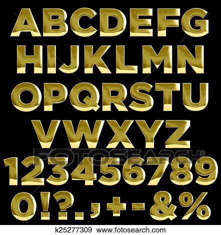 Colección de ilustraciones - oro, cartas, y, números, alfabeto ...