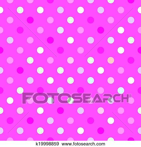 Colorful Vector Tile Background With Red Green Blue And Yellow Polka Dots On Baby Pink Wallpaper Or Seamless Pattern