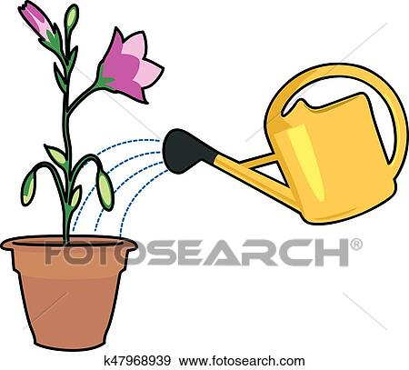 clip art of plants and watering can k47968939 search clipart rh fotosearch com plant watering can clipart garden watering can clipart