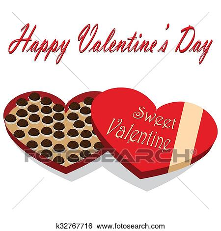 Stock Illustration Of Valentine S Day Box Of Chocolate Candy White