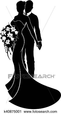 Wedding Couple Bride And Groom Silhouette Clipart