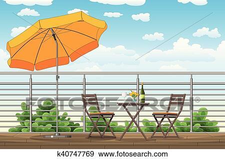 Clip Art Abbildung Von A Balkon A Terrasse Mit Tische