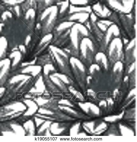 Clip Art of black and white seamless pattern with lotus flowers ...