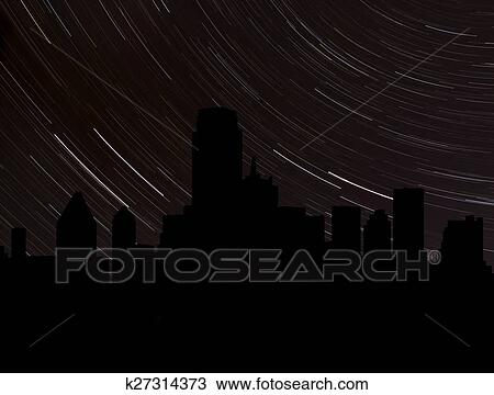 drawing of dallas skyline silhouette with star trails illustration