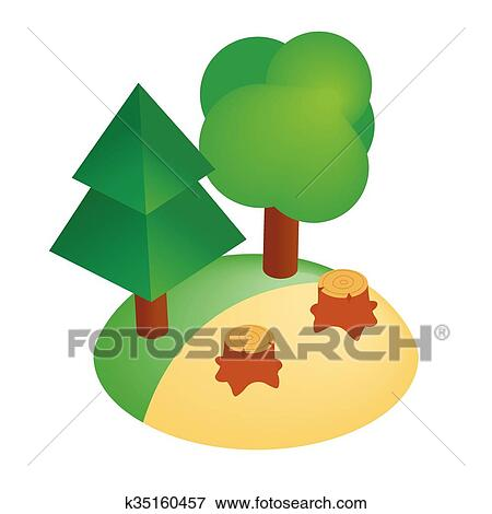 clip art of deforestation icon isometric 3d style