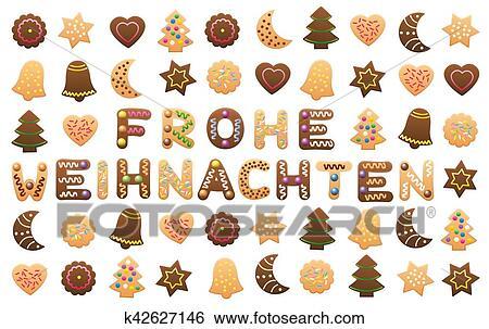 Frohe Weihnachten Cookies Wishes Clip Art
