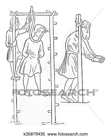 Gallows And Pillory Saxon Vintage Engraving Stock Illustration