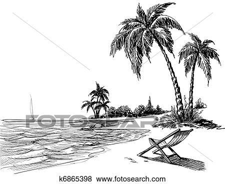 Clipart zomer strand potlood tekenen k6865398 zoek clipart illustratie posters - Poster muurschildering paysage ...