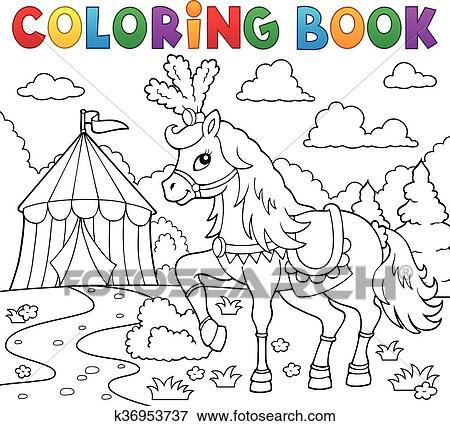 Clip Art - libro colorear, caballo, cerca, circo k36953737 - Buscar ...