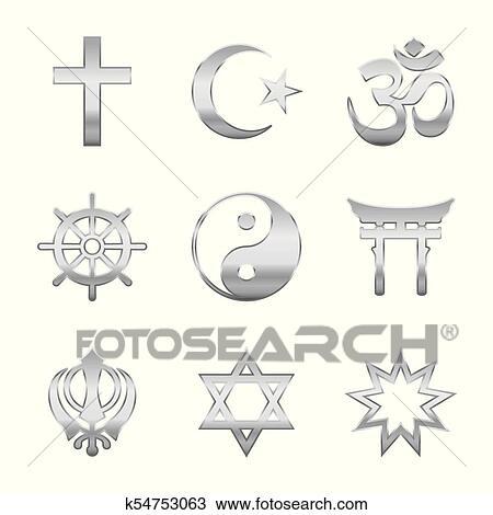 Clipart Of Religious Symbols Silver K54753063 Search Clip Art