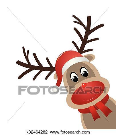 Clipart rudolph renne nez rouge k32464282 recherchez - Dessin de renne au nez rouge ...
