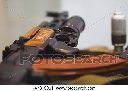 Soviet Russian weapon - Kalashnikov rifle with under barrel grenade  launcher Stock Image