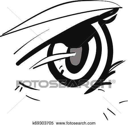 Um Anime Olho Vetorial Ou Cor Illustration Clipart