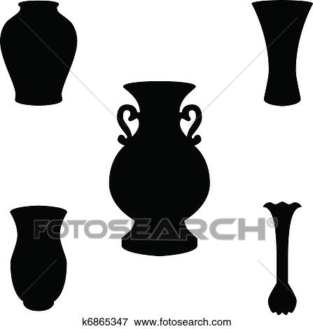 Clip Art Of Vase Silhouette Vector K6865347 Search Clipart