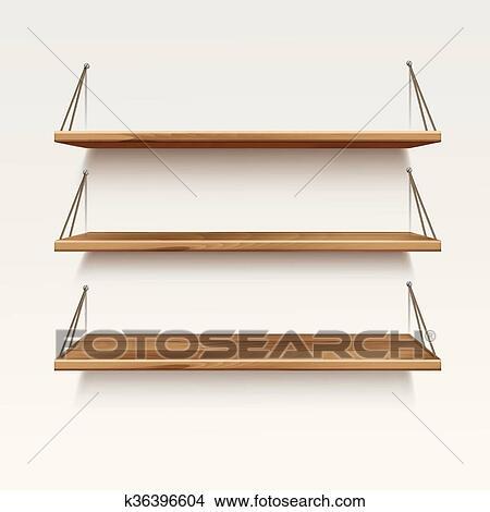 Houten Planken Aan De Muur.Vector Lege Houten Hout Plank Planken Geisoleerde Op Muur Achtergrond Clipart