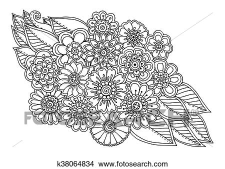 Clipart - verano, garabato, flor, ornamento, con, leaves., mano ...