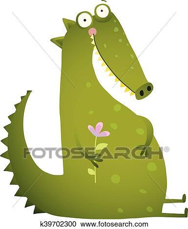 Clipart Verde Carino Bambini Coccodrillo Seduta Con Fiore