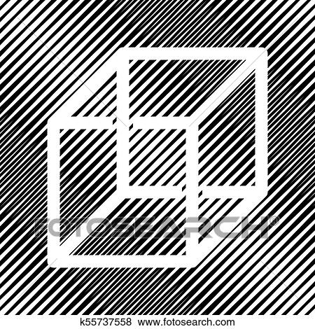Wired cube sign with optical illusion  Vector  Icon  Hole in