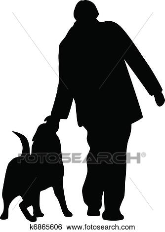 Clip Art Of Woman And Dog Silhouette Vector K6865606