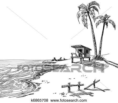 Klip Art Yaz Plaj Kabataslak çizim K6865708 Klipart