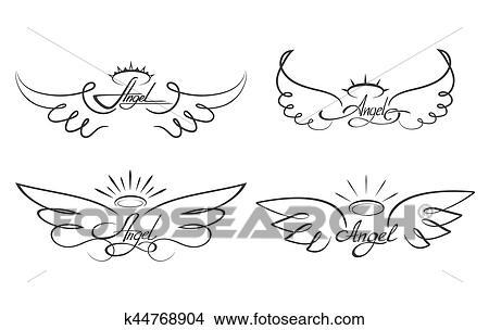 Asas Anjo Desenho Vetorial Illustration Winged Angelical
