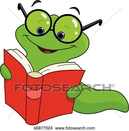 clipart of book worm k6877024 search clip art illustration murals rh fotosearch com Cute Bookworm bookworm clipart black and white