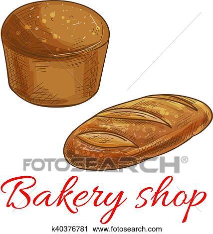 Bread, schizzo, icone, per, panetteria, negozio Clipart